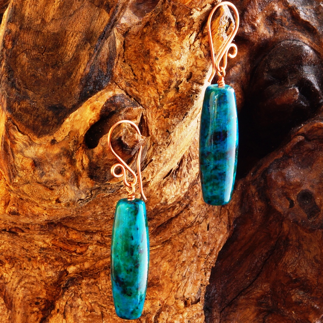 Handmade Copper Chrysocolla Drum Earrings