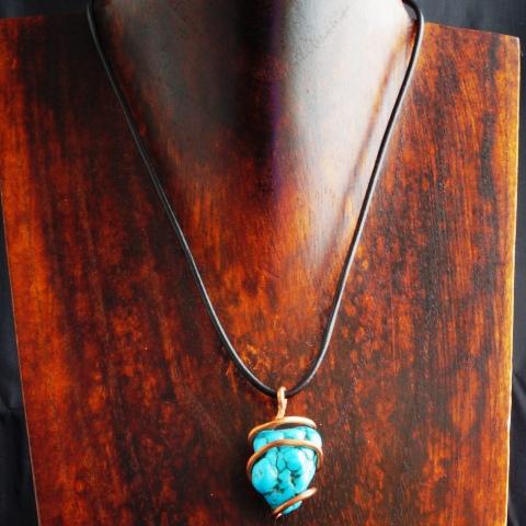 Handmade Copper Wire Turquoise Pendant