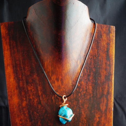Handmade Copper Wire Wrapped Turquoise Pendant