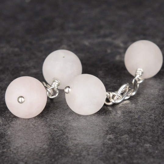 Handmade Sterling Silver Frosted Rose Quartz Cufflinks
