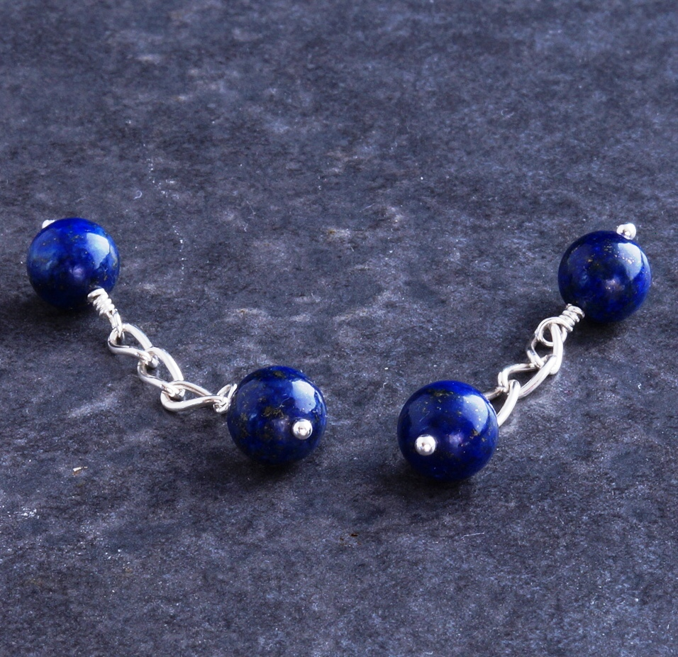 Handmade Sterling Silver Lapis lazuli cuff links