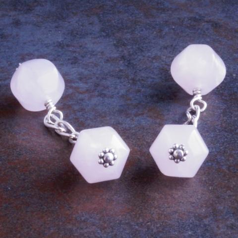 Handmade Sterling Silver Rose Quartz Cufflinks