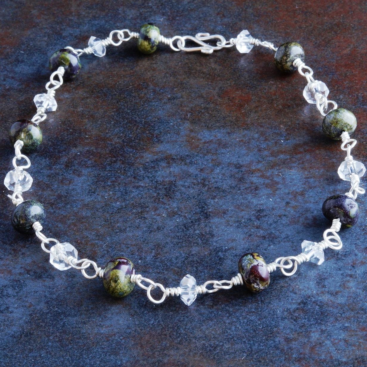 Handmade Sterling Silver Bloodstone Quartz Anklet