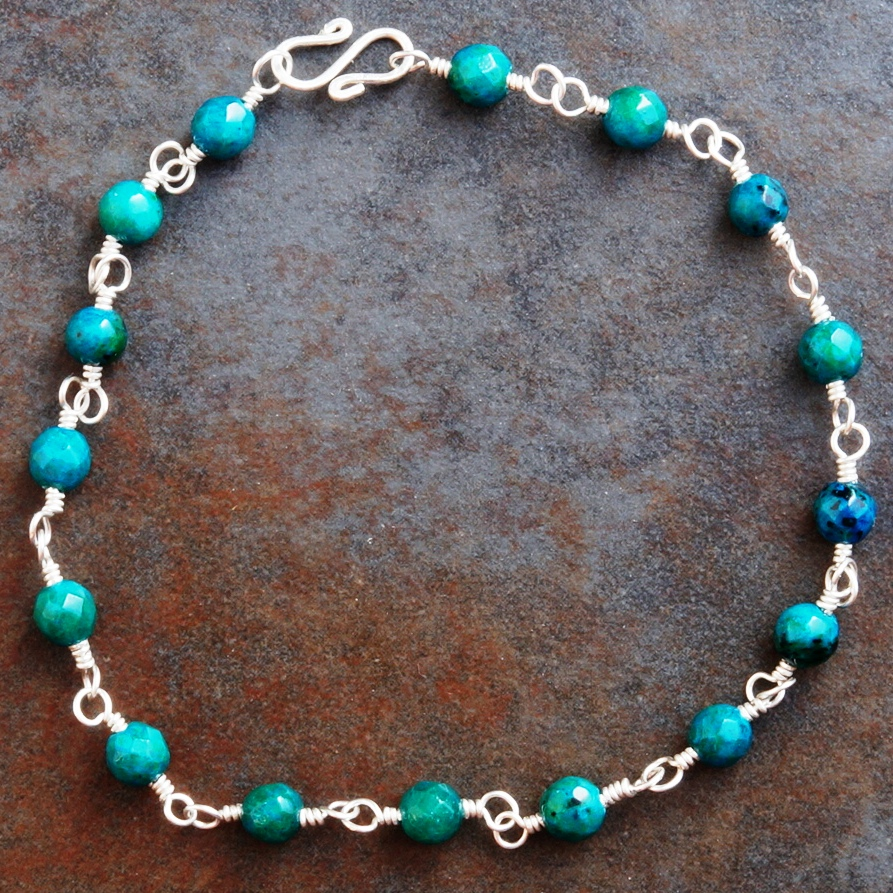 Handmade Sterling Silver Chrysocolla Anklet