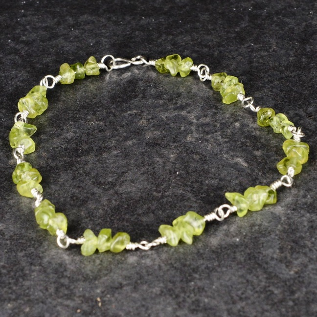 Handmade Peridot Sterling Silver Anklet