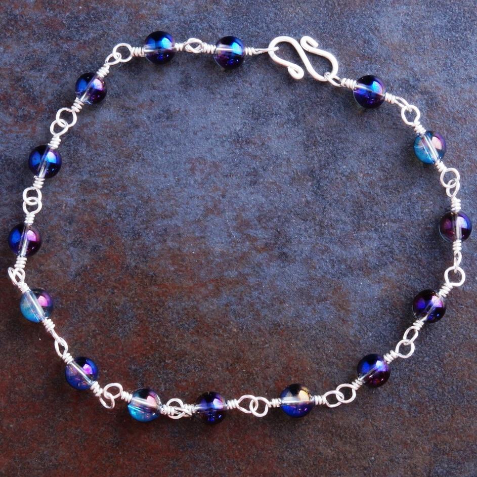 Handmade Sterling Silver Purple Mystic Quartz Anklet