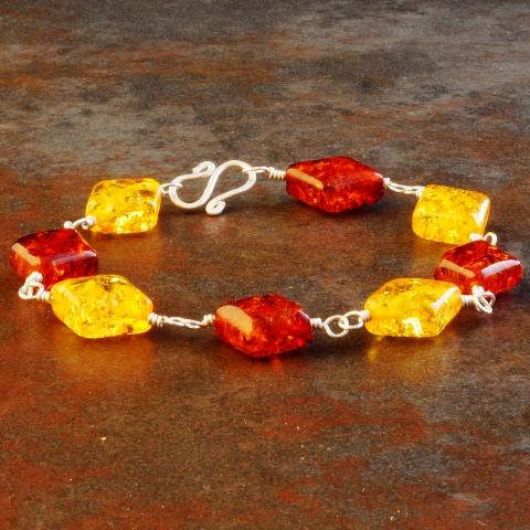 Handmade Sterling Silver 2 Tone Amber Bracelet