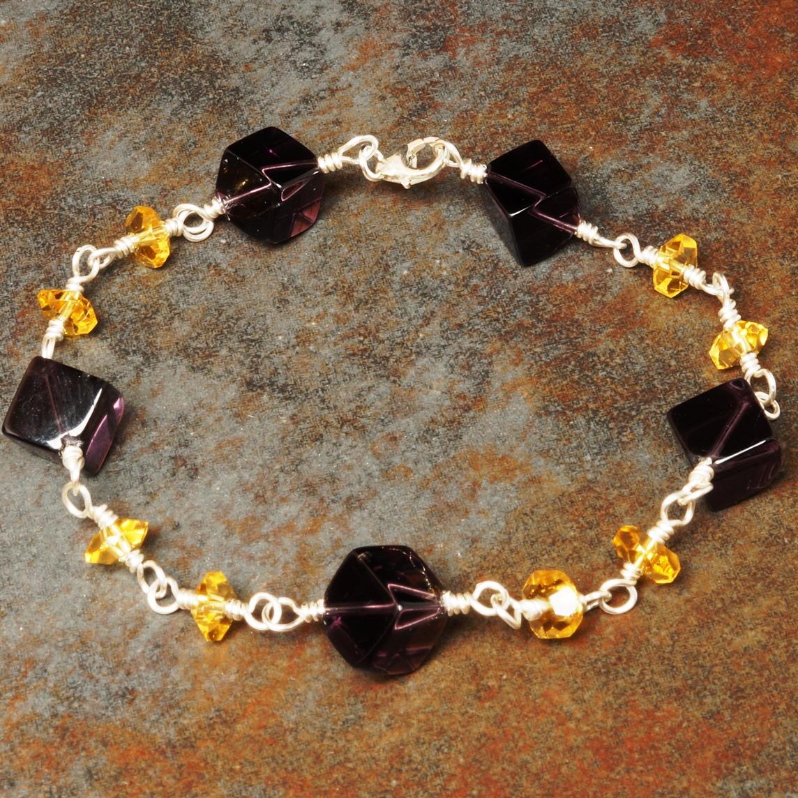 Handmade Sterling Silver Amethyst Citrine Bracelet