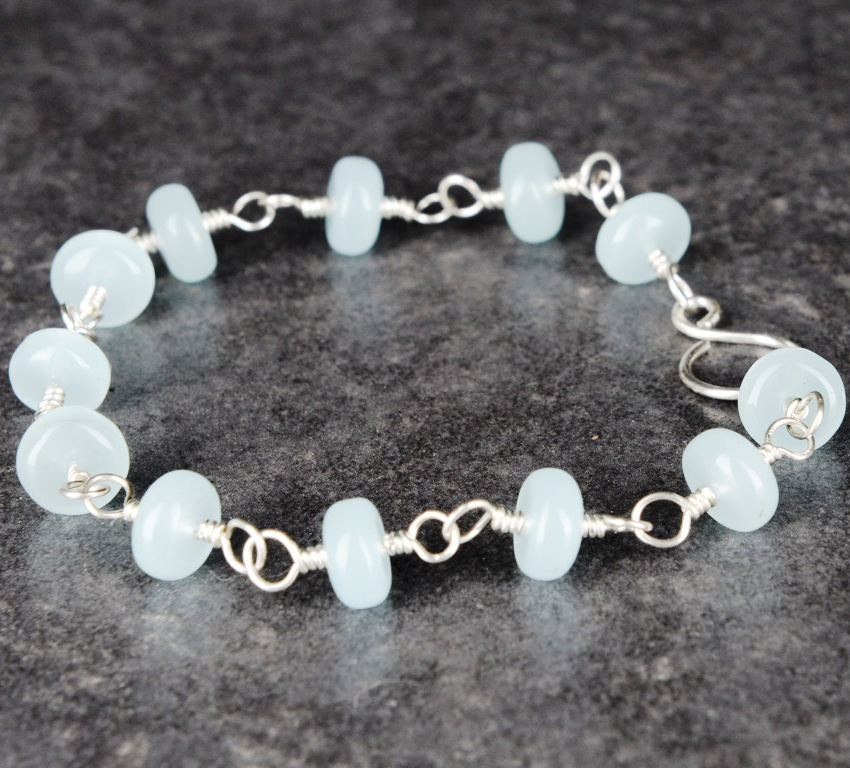 Handmade Sterling Silver Sky Chalcedony Bracelet
