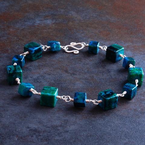 Handmade Sterling Silver Cubed Chrysocolla Bracelet