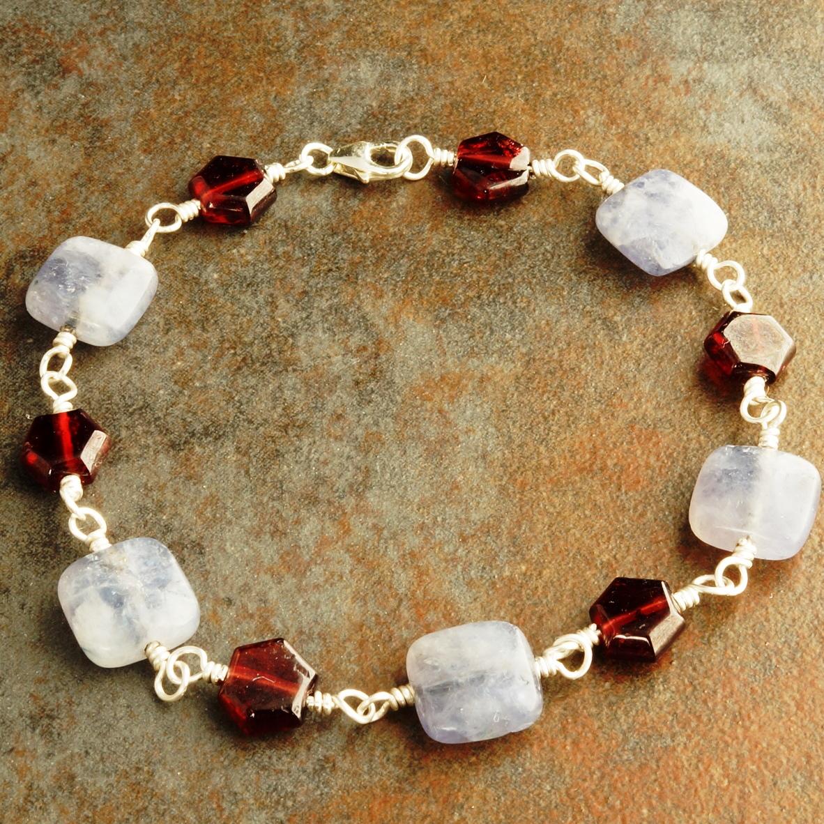 Handmade Sterling Silver Garnet Iolite Bracelet