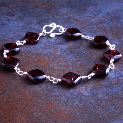 Handmade Sterling Silver Garnet Diamond Bracelet