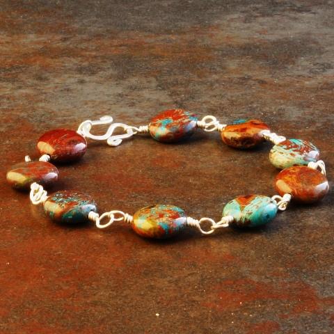 Handmade Sterling Silver Imperial Jasper Bracelet