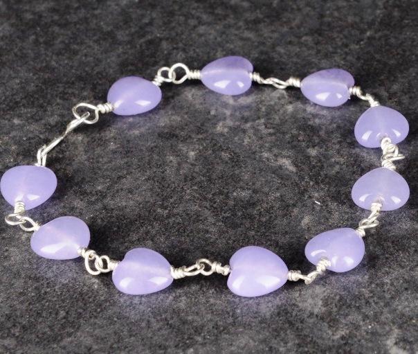 Handmade sterling silver purple jade bracelet