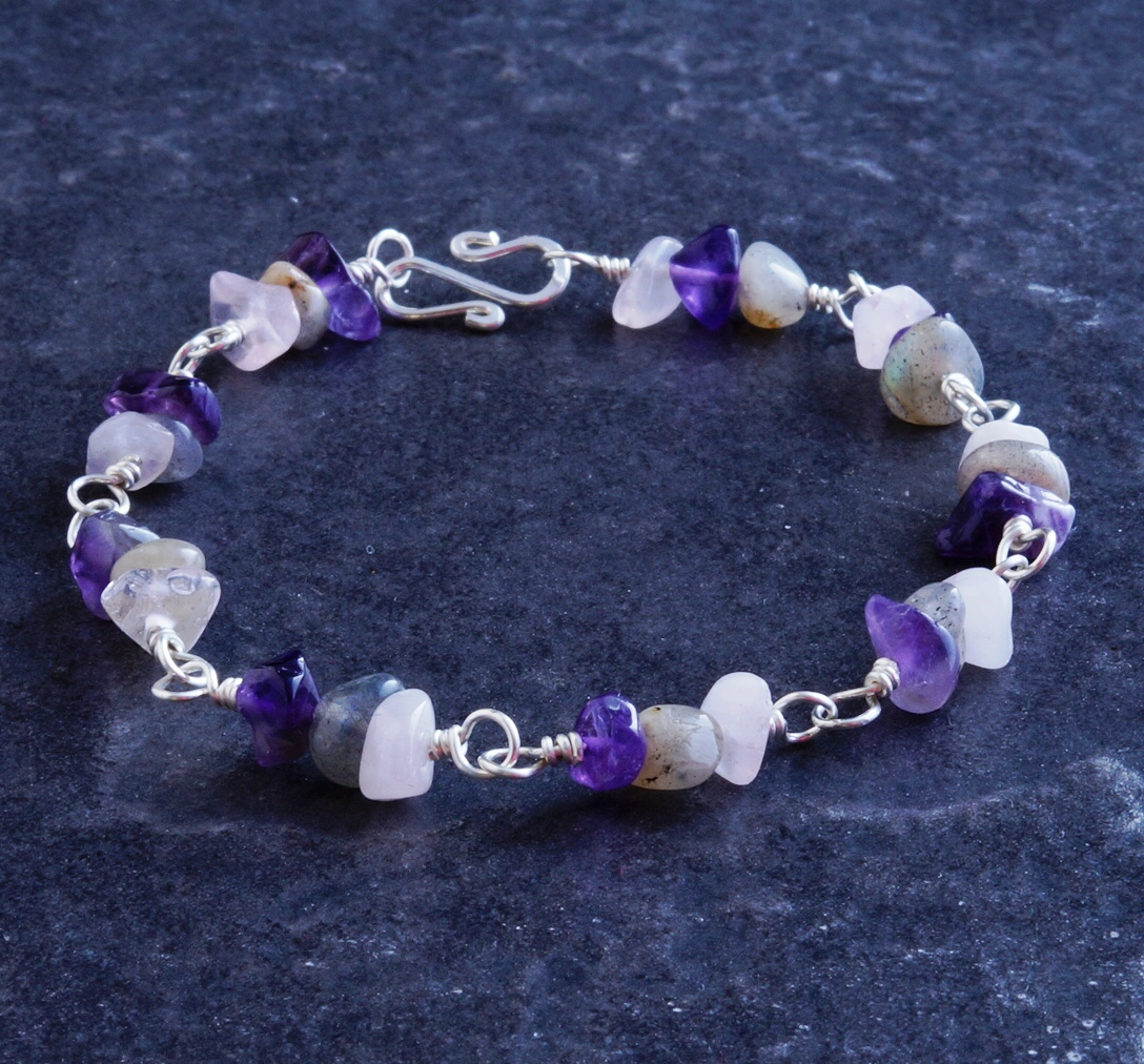 Handmade Sterling Silver Labrodite Moonstone Amethyst Bracelet