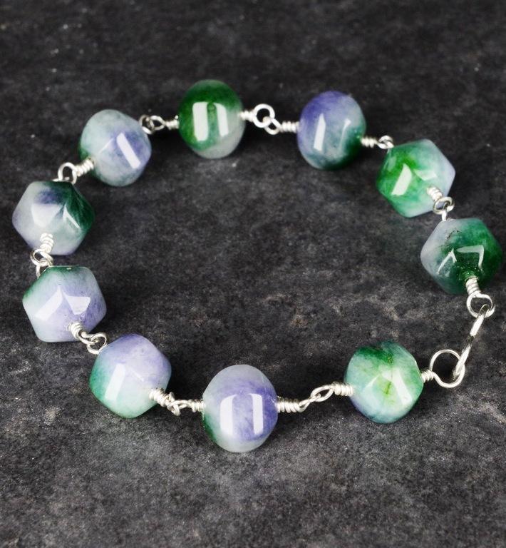 Handmade Sterling Silver Pumpkin Jade Bracelet