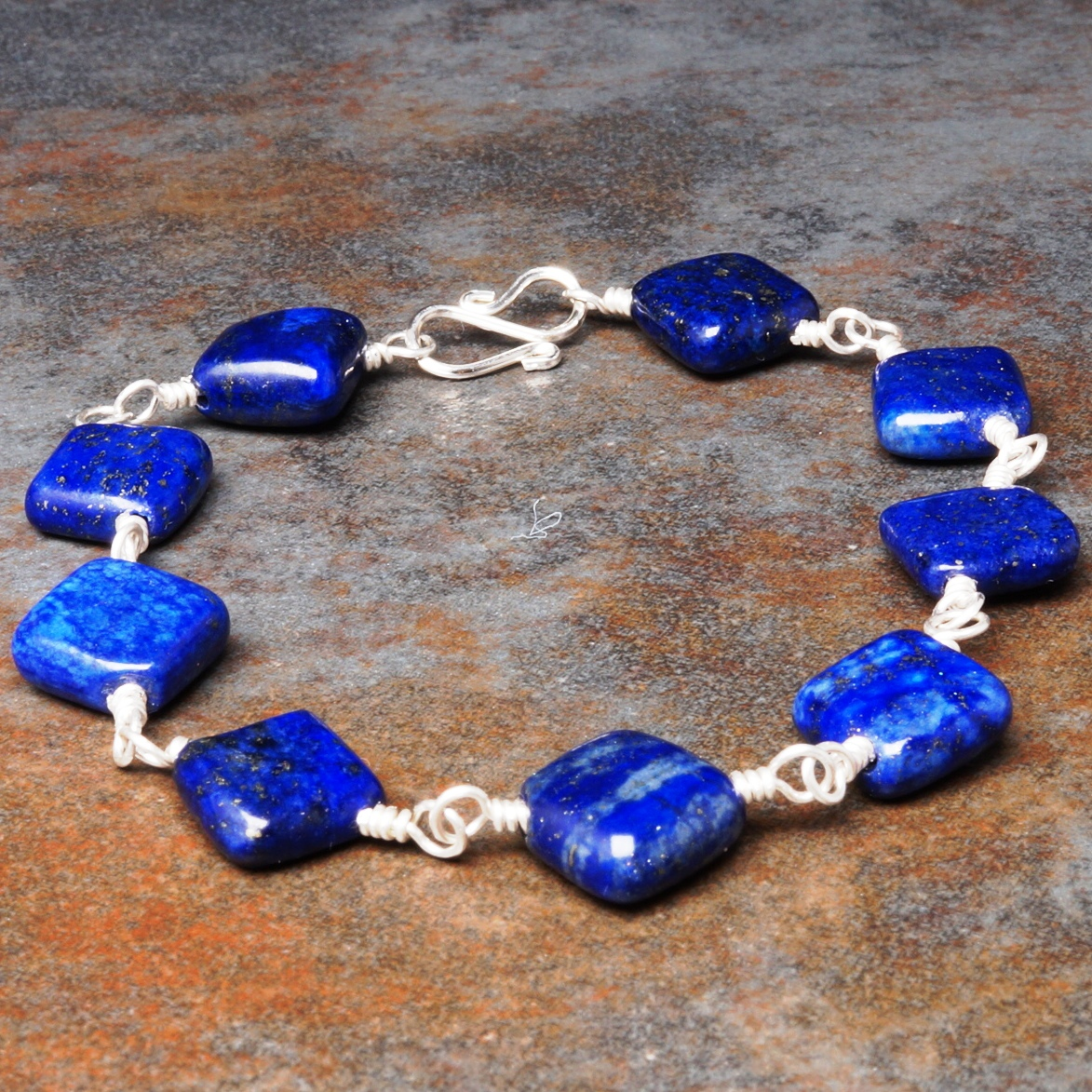 Handmade Sterling Silver Lapis Lazuli Bracelet 03