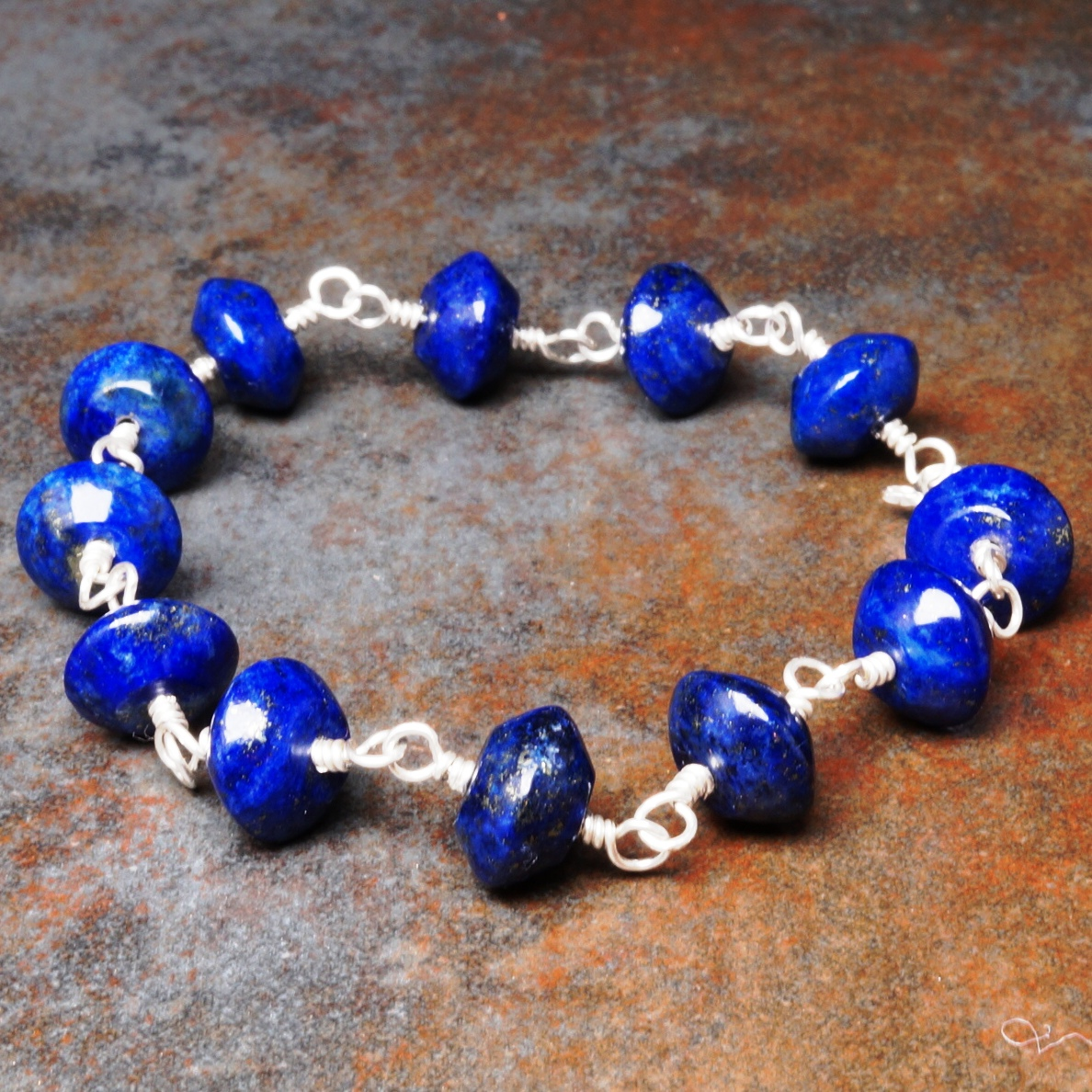 Handmade Sterling Silver Lapis Lazuli bracelet 02