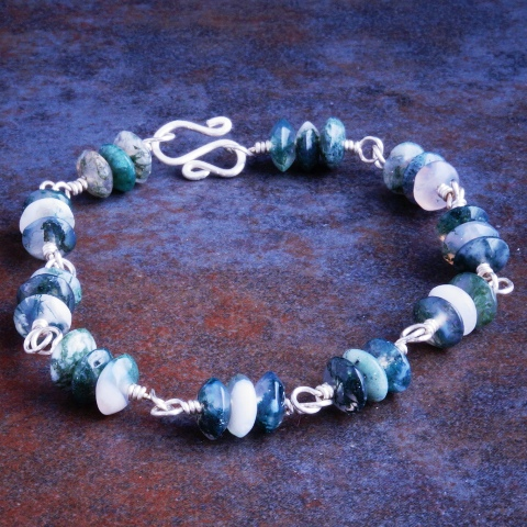 Handmade Sterling Silver Moss Agate Bracelet