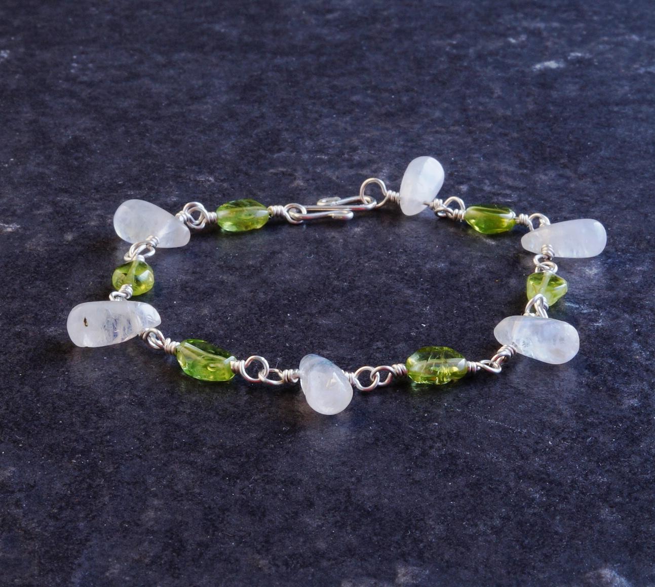 Handmade Peridot Moonstone Sterling Silver Bracelet