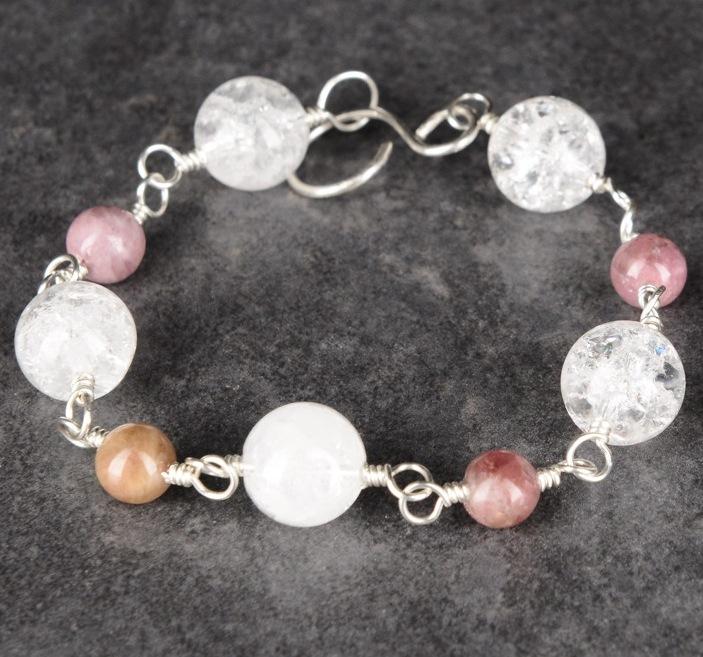 Handmade Pink Tourmaline Quartz sterling silver Bracelet