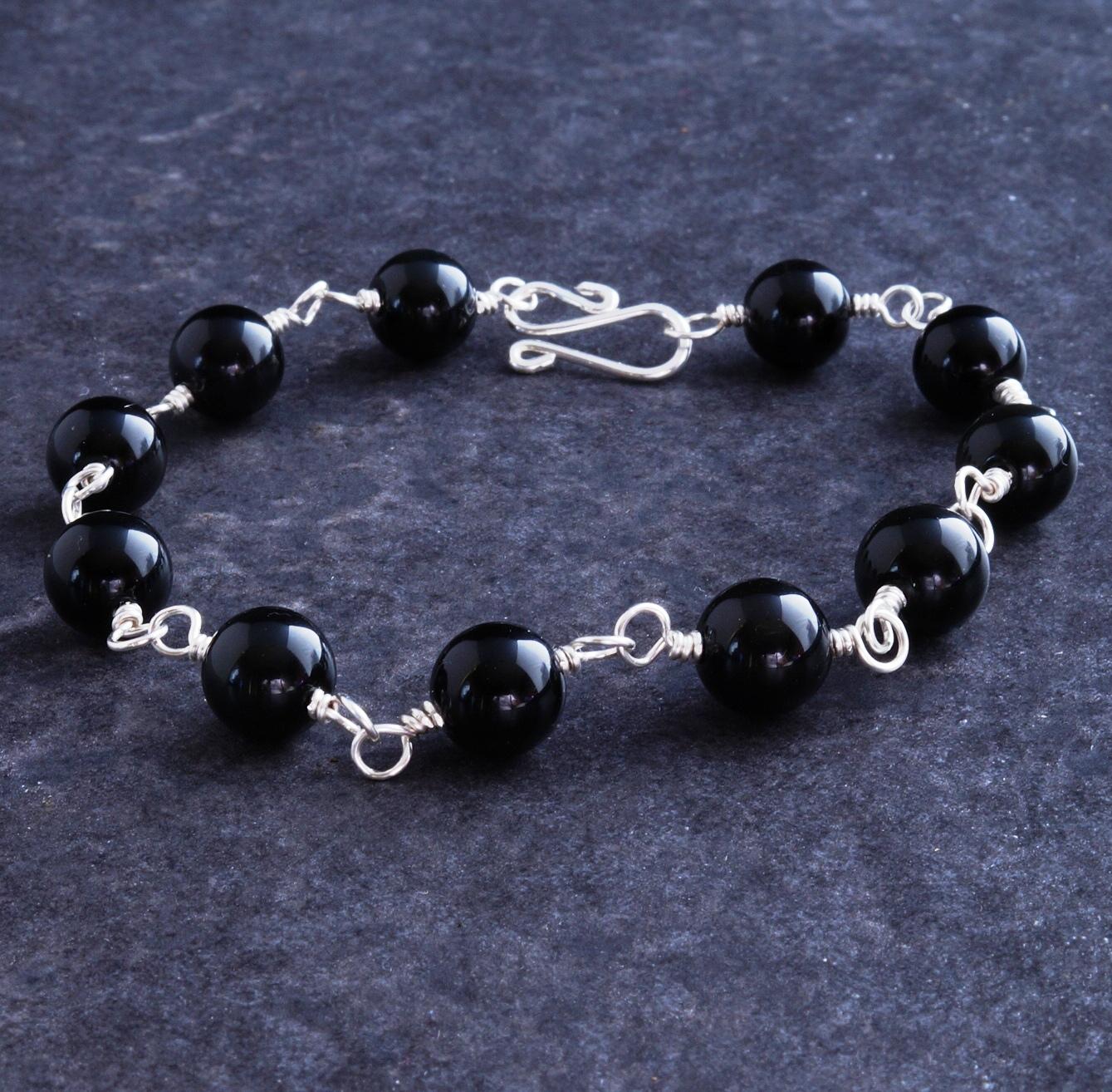 Handmade Sterling Silver Rainbow Obsidian Bracelet