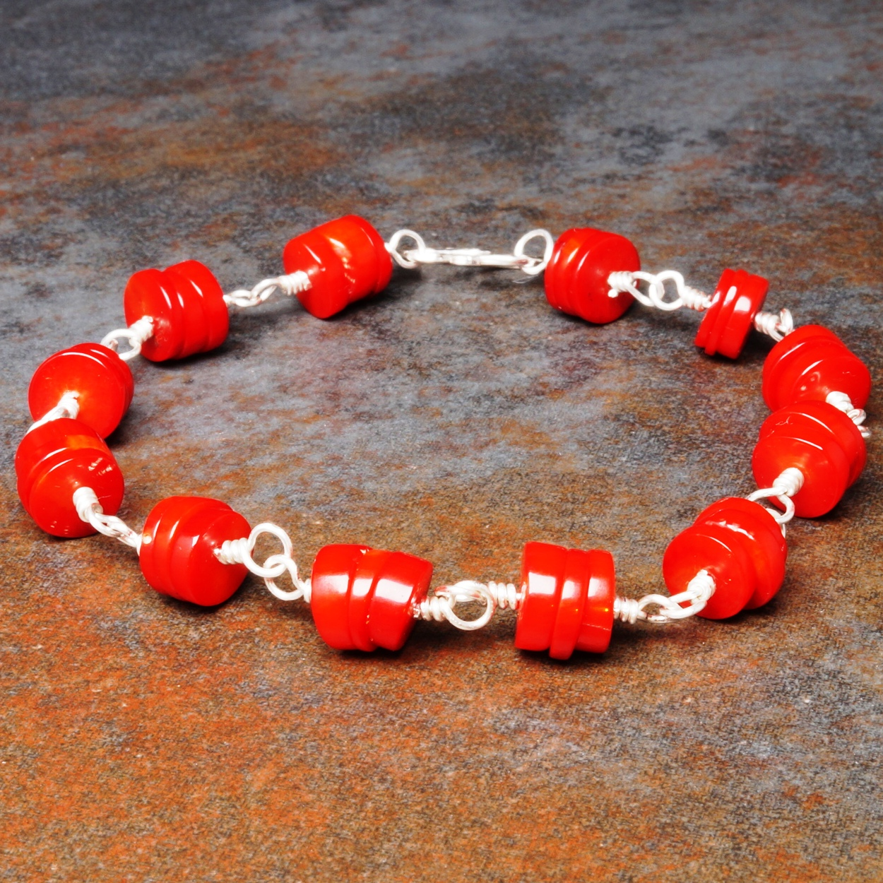 Handmade Sterling Silver Red Coral Bracelet 01