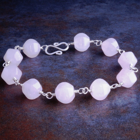 Handmade Sterling Silver Rose Quartz Bracelet