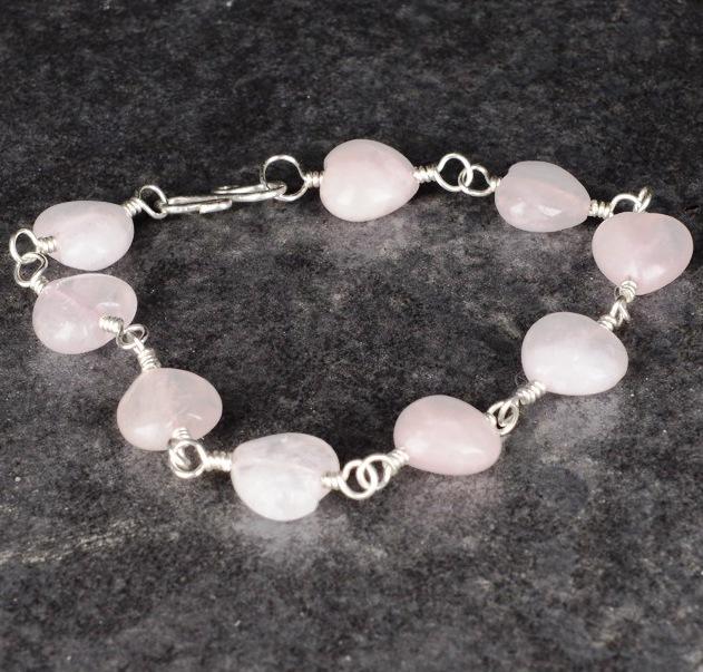 Handmade Rose Quartz Heart Sterling Silver bracelet