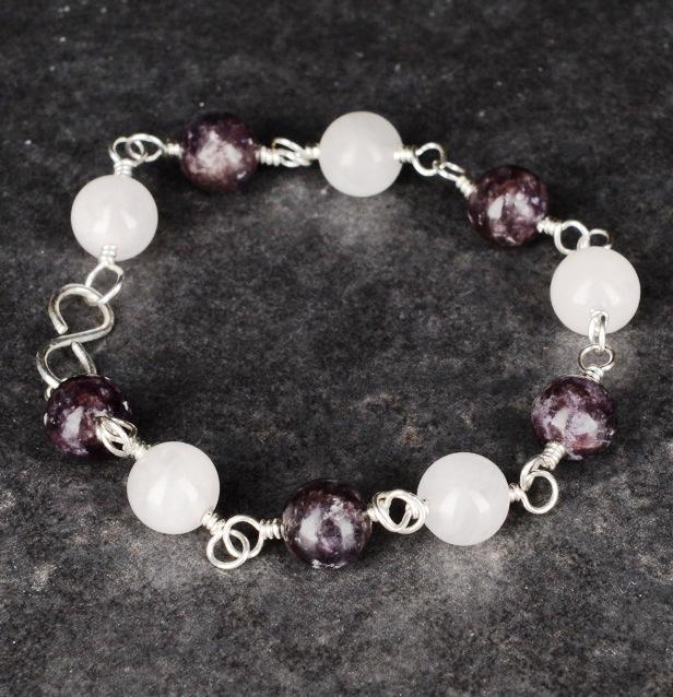 Handmade sterling silver Rose Quartz Lepidolite Peace and Love Bracelet