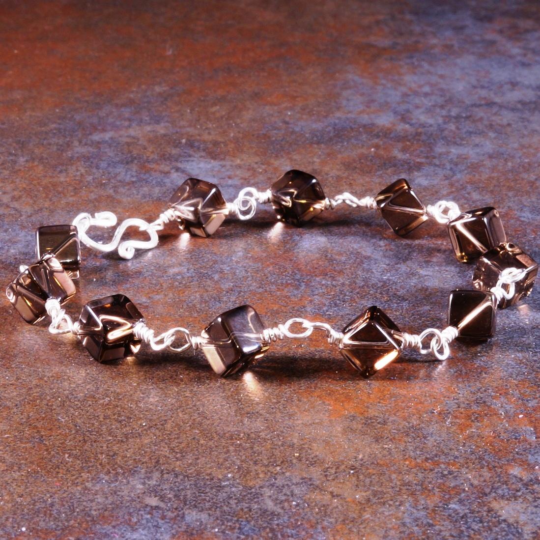 Handmade Sterling Silver Smokey Quartz Cubed Bracelet