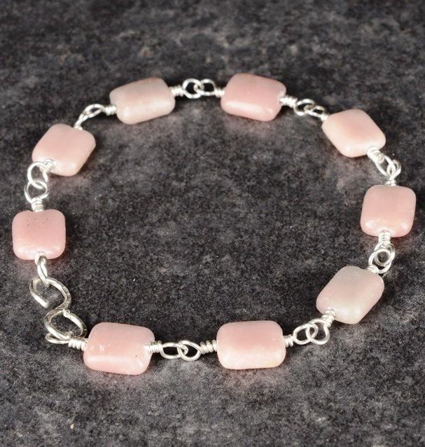 Handmade Sterling Silver Morganite Bracelet