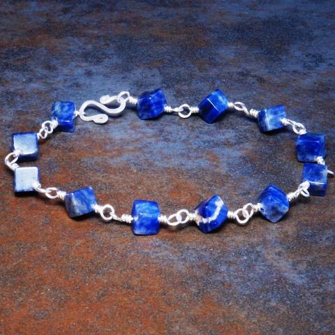 Handmade Sterling Silver Sodalite Bracelet