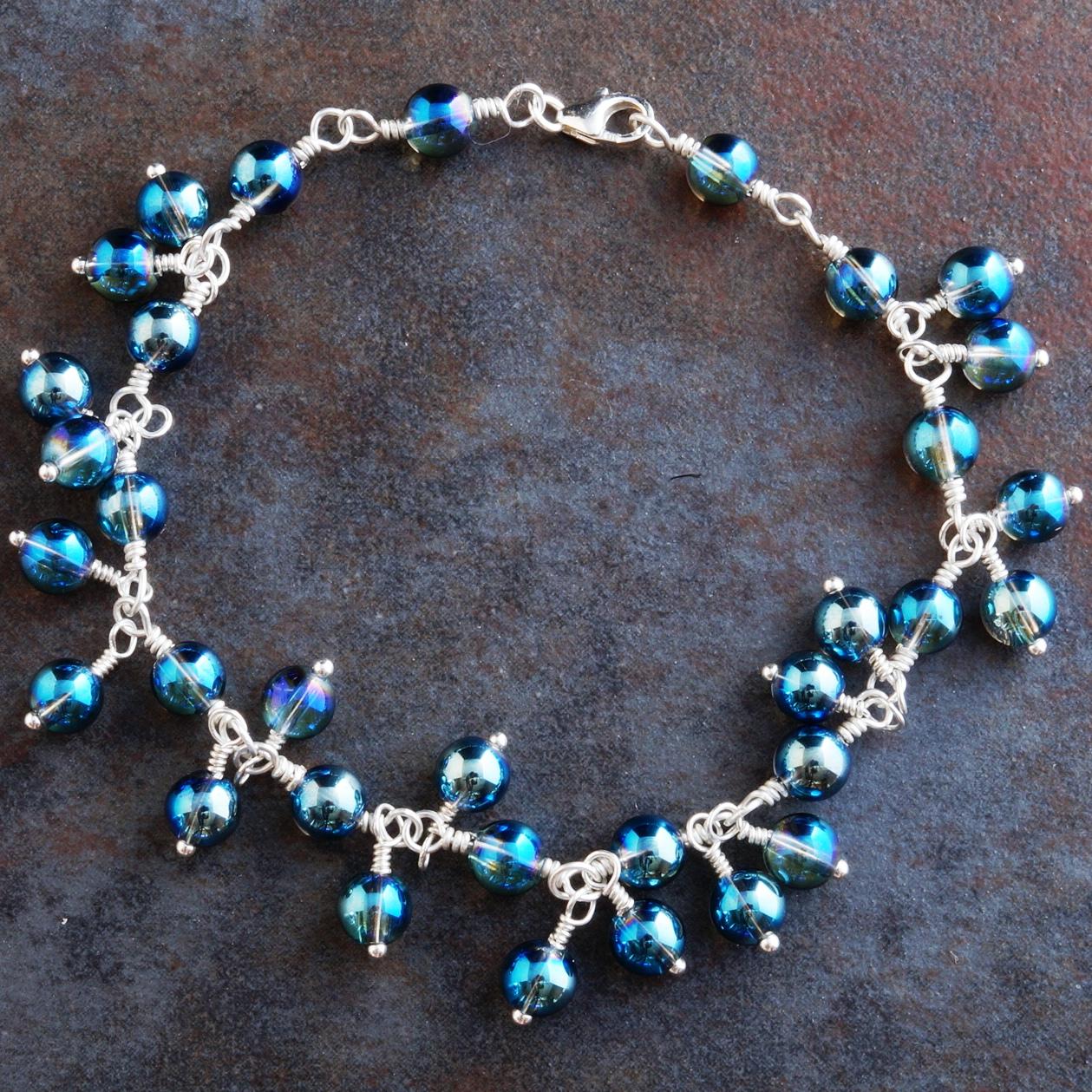 Handmade Sterling Silver Blue Mystic Quartz Charm Bracelet