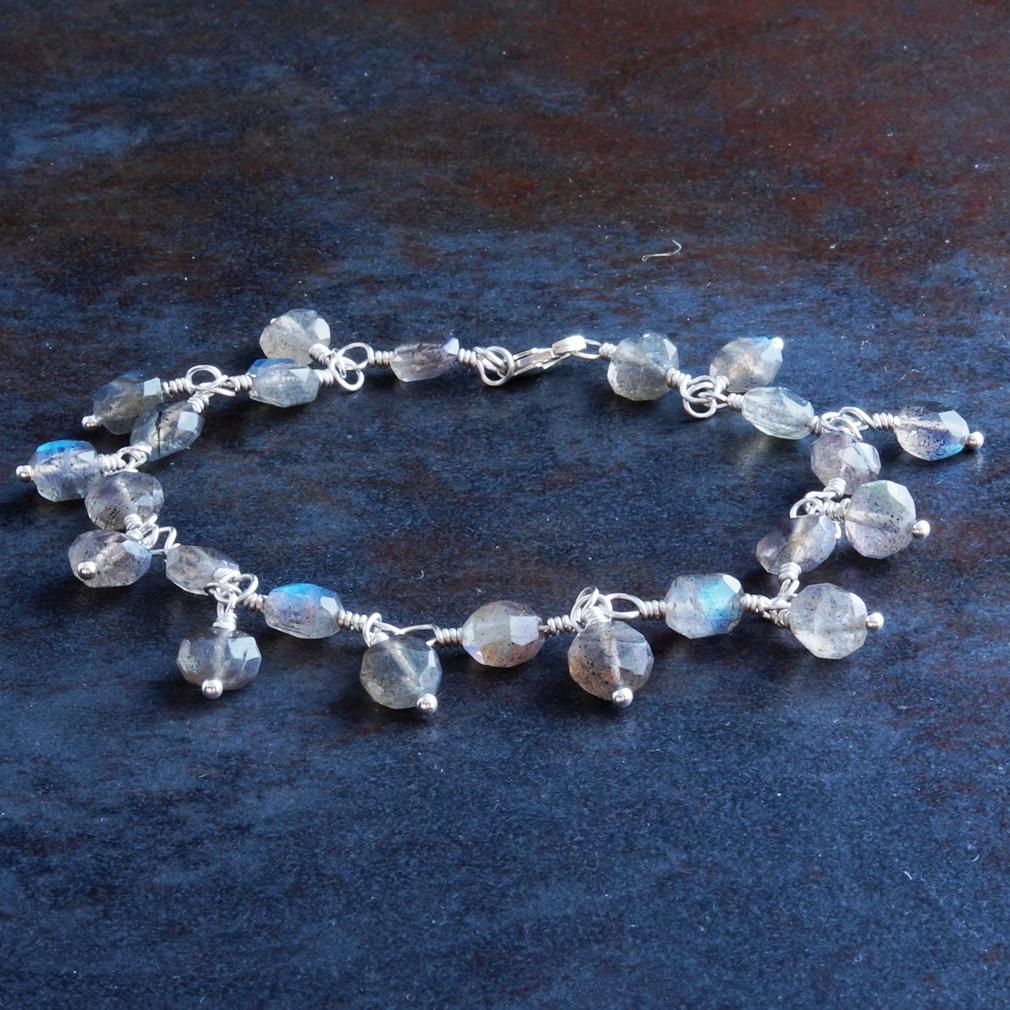 Handmade Sterling Silver Labradorite Charm Bracelet