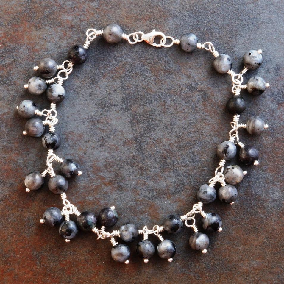 Handmade Sterling Silver Lavikite Charm Bracelet