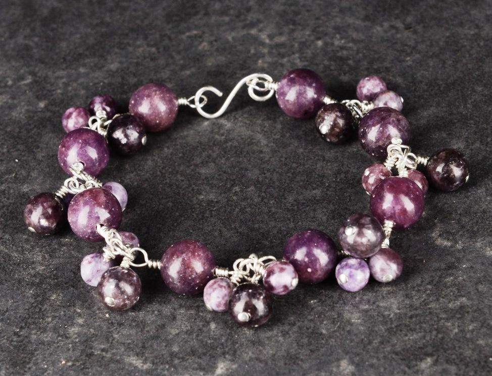 Handmade sterling silver Lepidolite bracelet