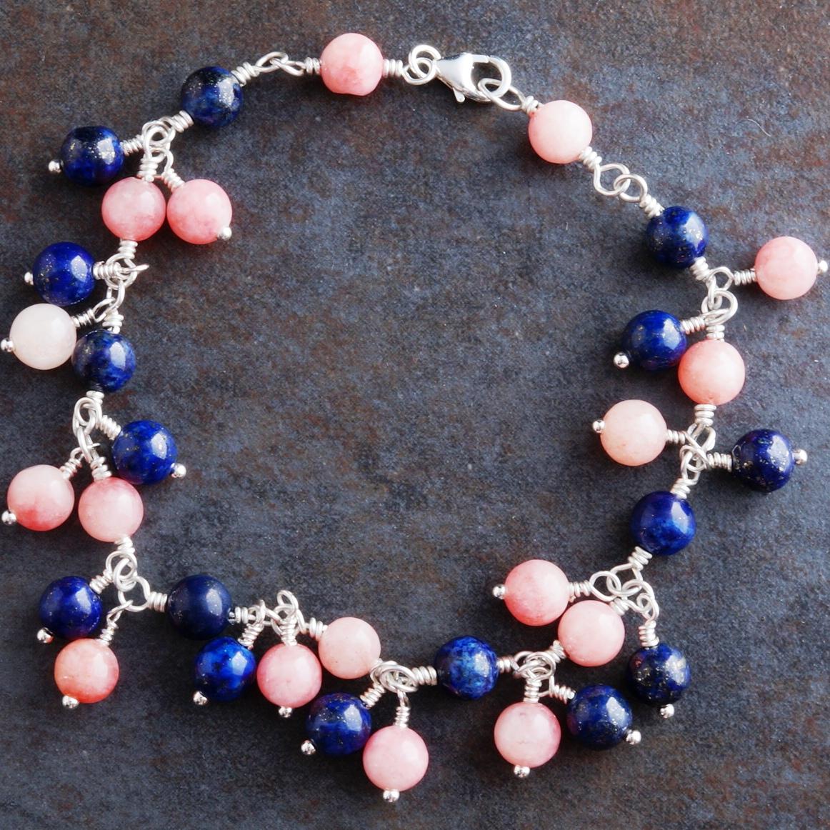 Handmade Sterling Silver Lapis Lazuli Rhodochrosite Charm Bracelet