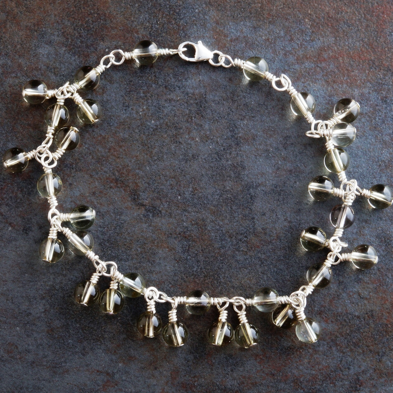 Handmade Sterling Silver Smokey Lemon Quartz Anklet