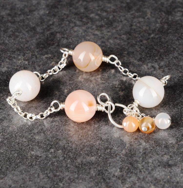 Handmade Sterling Silver Chained Carnelian Bracelet