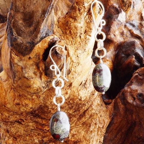 Handmade Dragon Blood Jasper Sterling Silver Chain Maille earrings