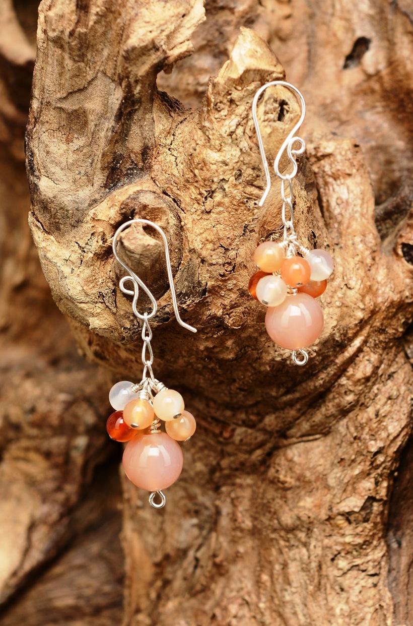 Handmade Sterling Silver Carnelian Cluster Earrings