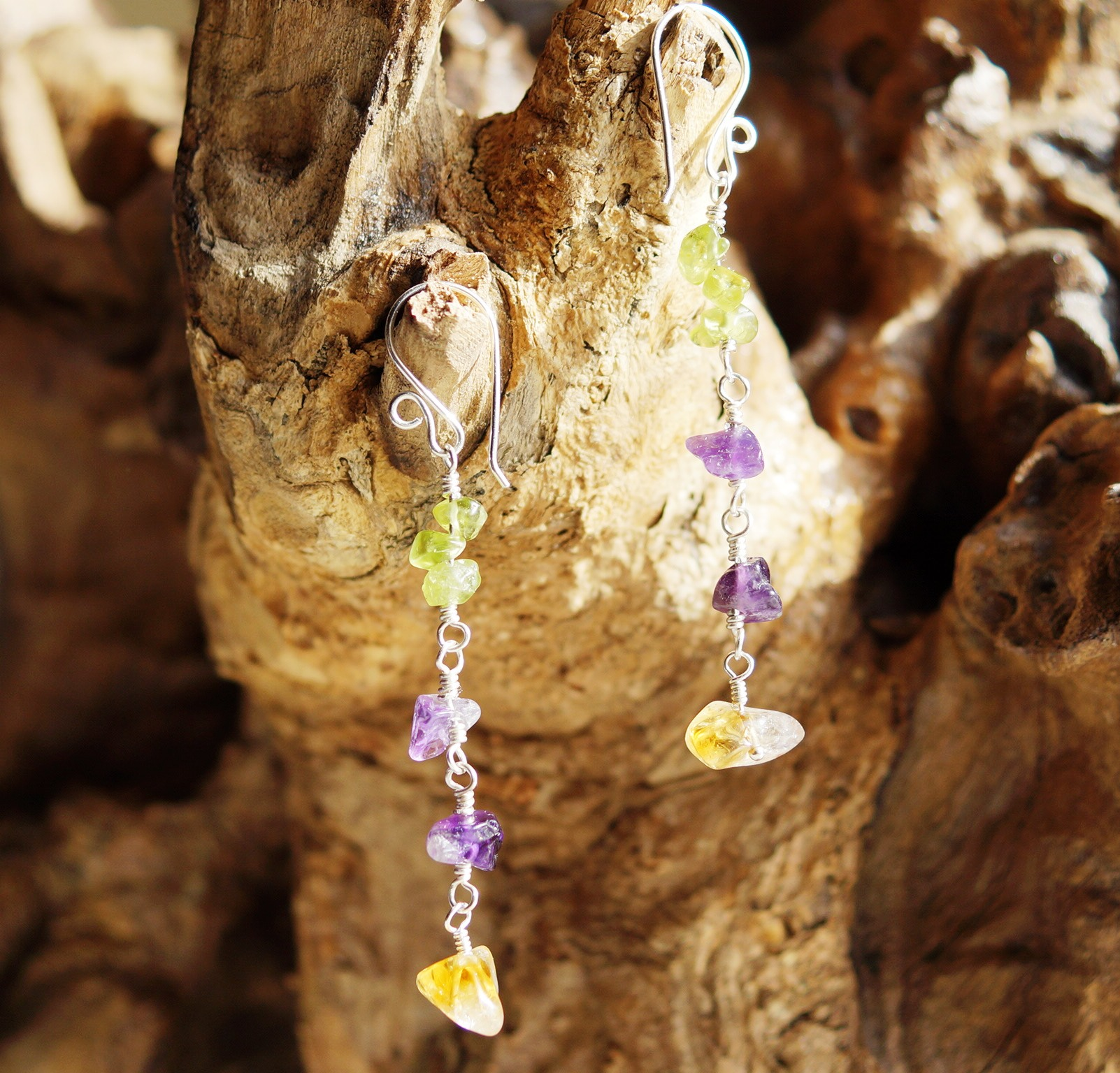 Abundance Earrings Amethyst Citrine and Peridot