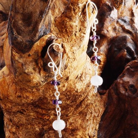Handmade Double Amethyst Sterling Silver earrings