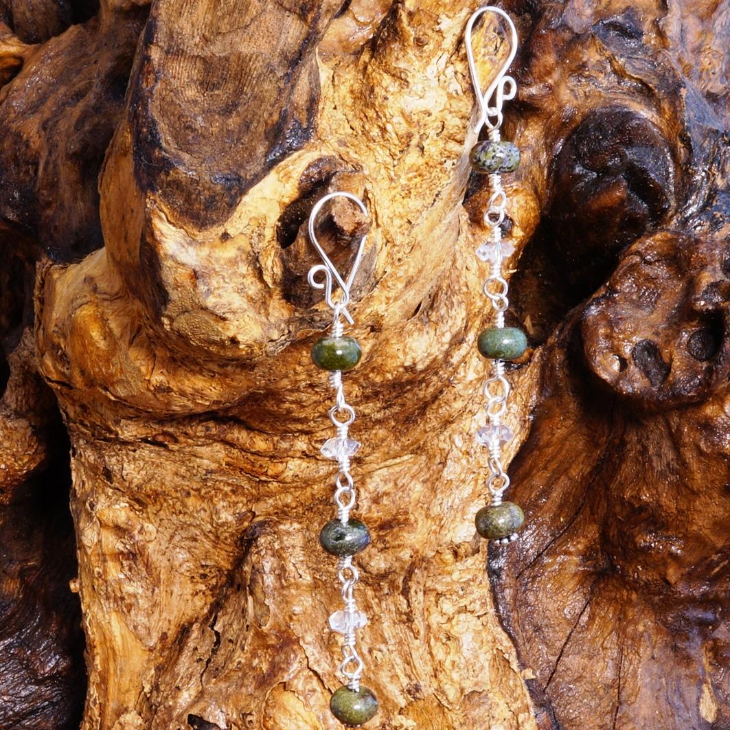 Handmade Sterling Silver Long Bloodstone Quartz Earrings