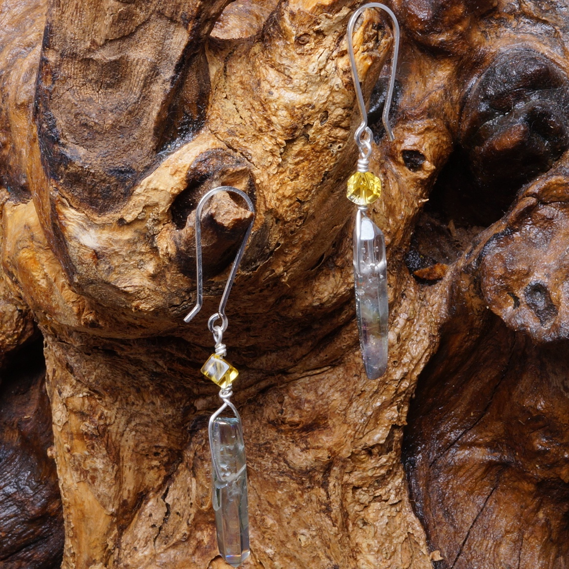 Handmade Sterling Silver Citrine Grey Mystic Quartz Dangle Earrings