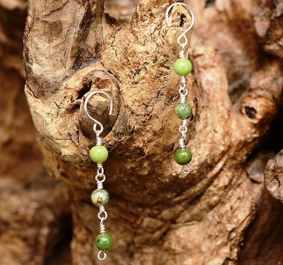 Handmade Sterling Silver Green Chrysoprase Earrings