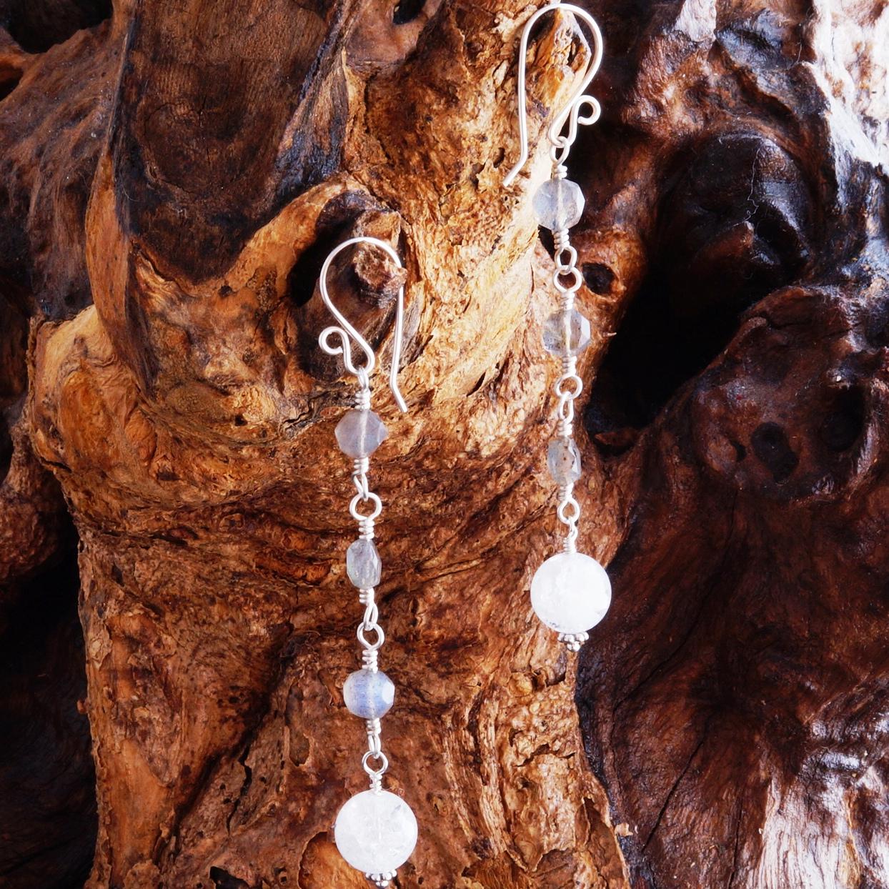 Handmade Sterling Silver Long Labradorite Quartz Earrings
