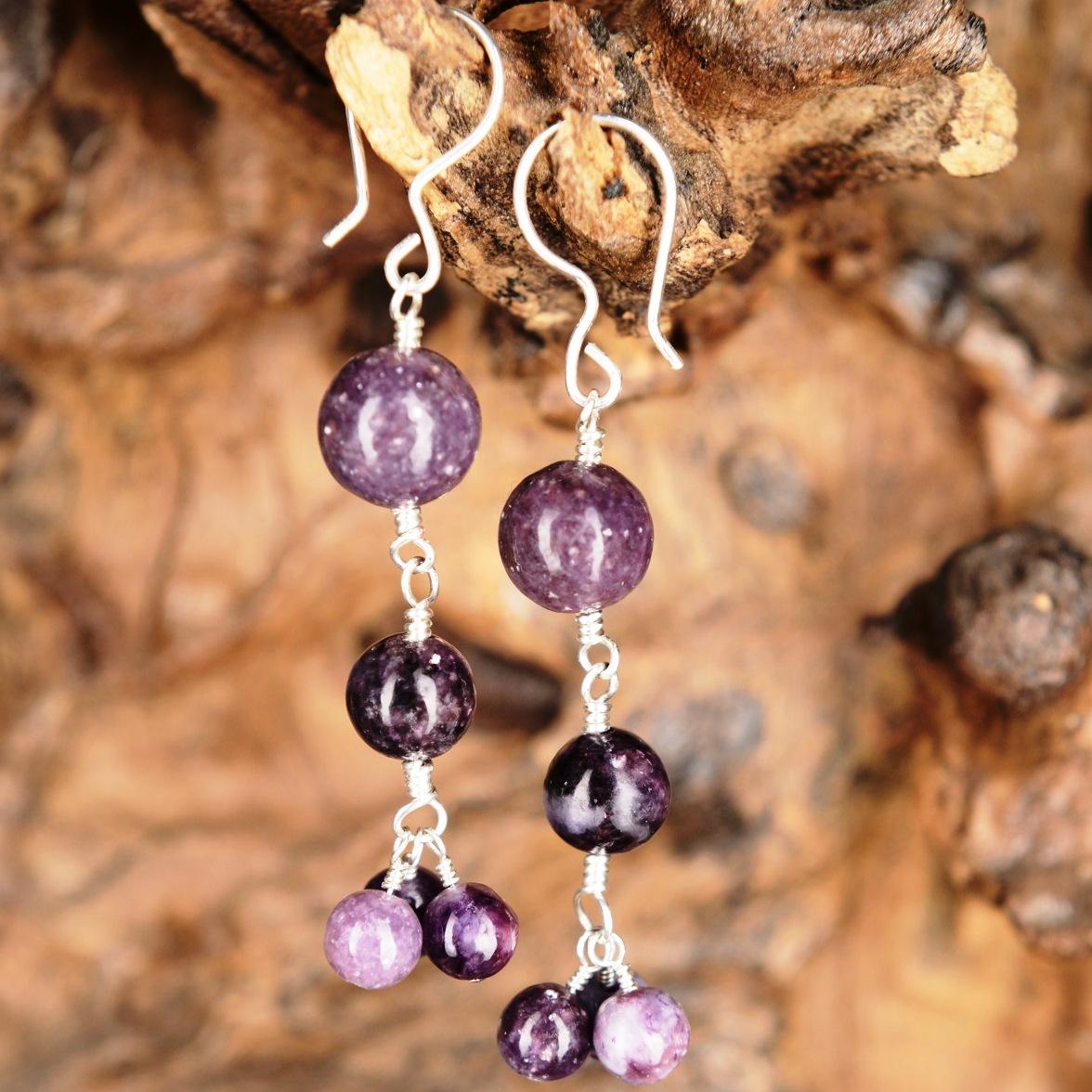 Handmade sterling silver Lepidolite Earrings