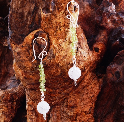 Handmade Peridot Quartz Sterling Silver Earrings